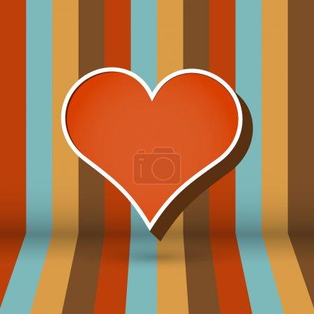 Illustration pour Fond rayé vectoriel avec coeur - image libre de droit