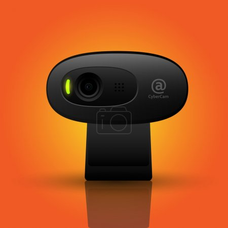 Vector illustration of a black webcam.