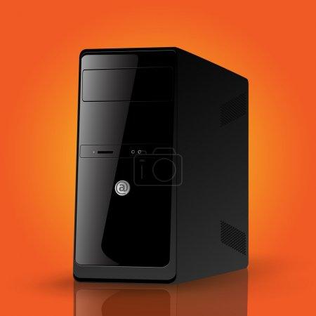 Illustration pour Illustration vectorielle d'un boîtier d'ordinateur noir . - image libre de droit