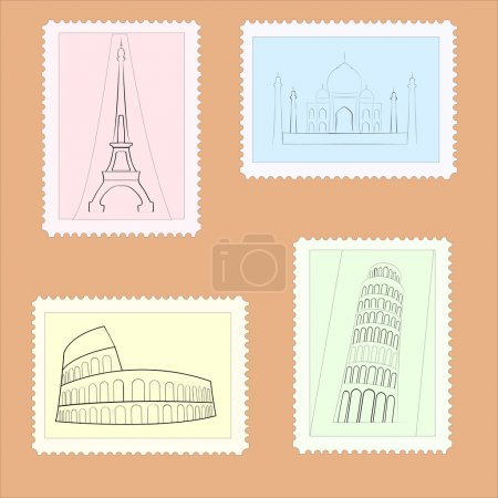 Vector travel postage stamps.