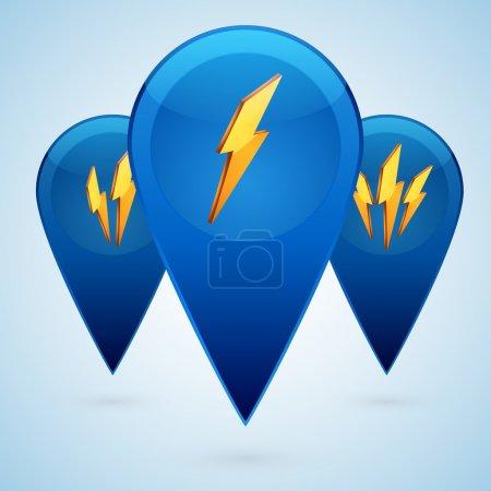 Vector lightning icons. Vector illustration.