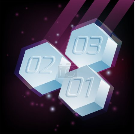 Hexagons with numbers. Vector abstract background.