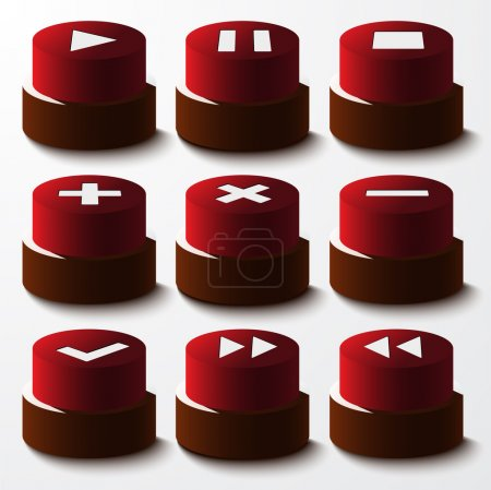 Illustration for Vector set of red buttons. - Royalty Free Image