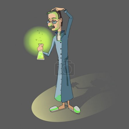 Illustration for Chemist with the flask in his hand. - Royalty Free Image