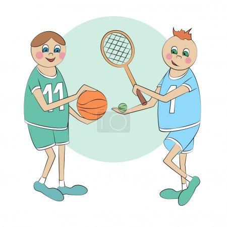 Vector cartoon sportsmen. Vector illustration.