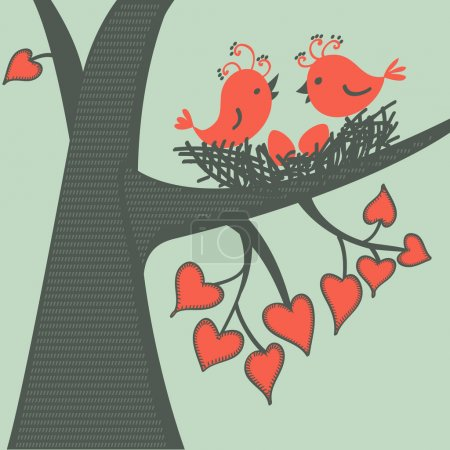 Bird on a branch in love. Vector illustration.