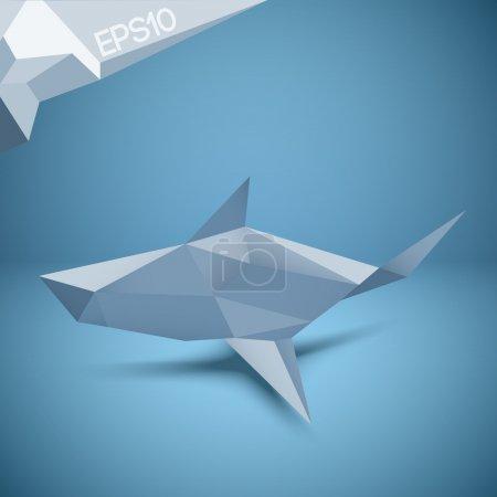 Illustration pour Illustration vectorielle du requin origami . - image libre de droit