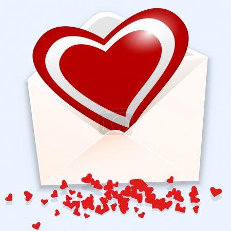 Illustration pour Enveloppe ouverte avec cœur. Illustration vectorielle . - image libre de droit