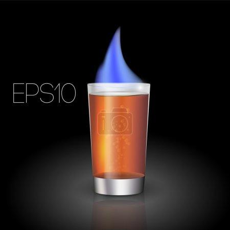 Illustration pour Cocktail vectoriel avec flamme . - image libre de droit