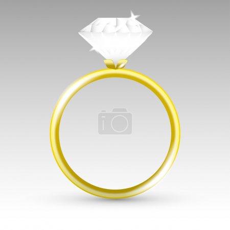 Illustration pour Bague vectorielle en or avec diamant . - image libre de droit