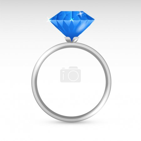 Illustration pour Bague vectorielle argent avec diamant . - image libre de droit