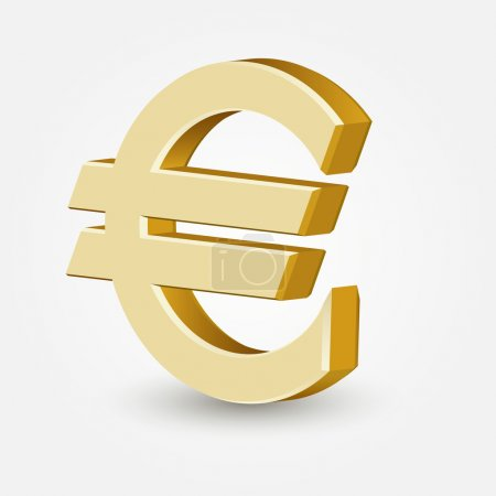 Illustration for Vector golden euro sign isolated on white background. - Royalty Free Image