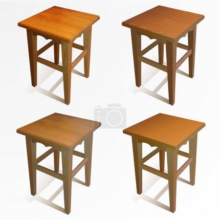 Illustration pour Ensemble vectoriel de chaises en bois. Illustration vectorielle . - image libre de droit
