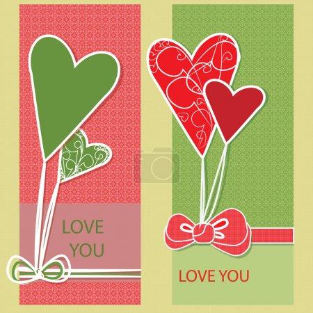 Illustration pour Carte de vœux vectorielle avec cœur . - image libre de droit