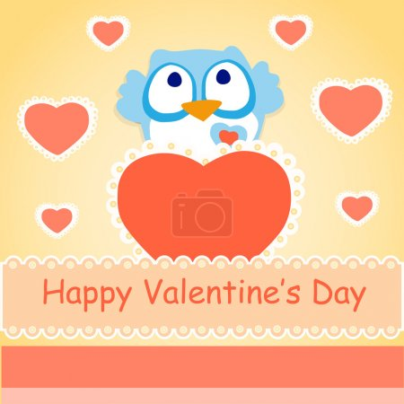 Vector background for Valentines day with owl.