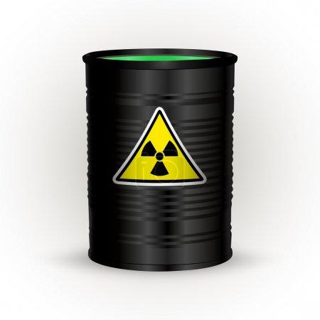 Illustration for Vector illustration of black metal barrel with nuclear waste. - Royalty Free Image