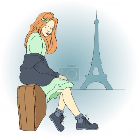 Illustration for Beautiful woman in Paris. Vector illustration. - Royalty Free Image