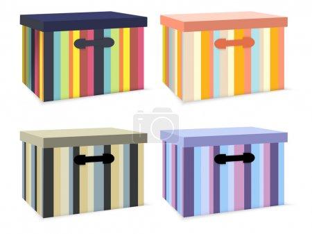 Illustration pour Ensemble vectoriel de boîtes colorées . - image libre de droit