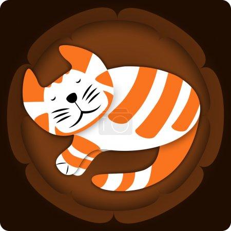 Illustration pour Charmant chat endormi. Illustration vectorielle . - image libre de droit