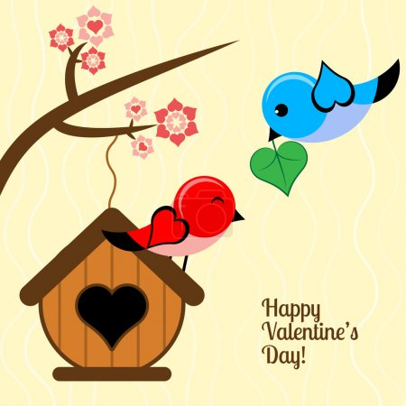 Vector card for Valentine's day with birds.
