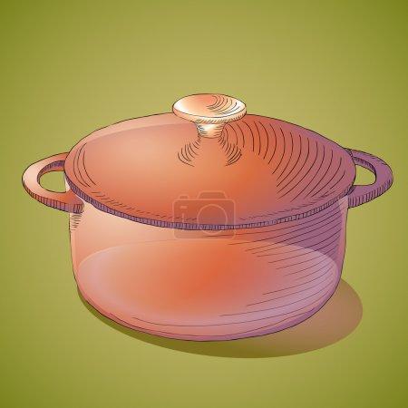Illustration pour Casserole brune. Illustration vectorielle . - image libre de droit
