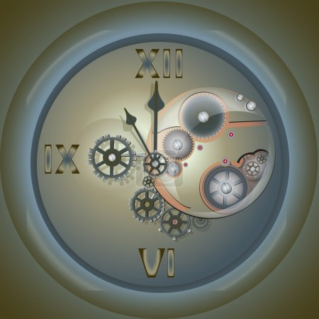 Clock with mechanism. Vector illustration.