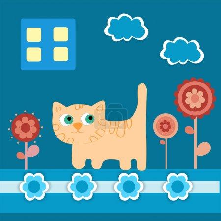 Illustration pour Fond vectoriel avec chat . - image libre de droit