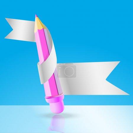 Vector pencil with ribbon.
