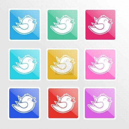 Illustration pour Ensemble vectoriel d'icônes avec oiseaux . - image libre de droit