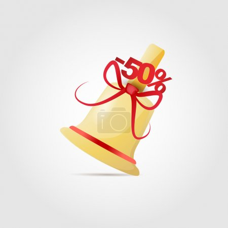 Illustration for Vector illustration of bell with bow for sale. - Royalty Free Image