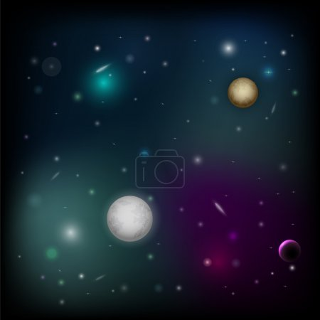 Vector space background with planet.