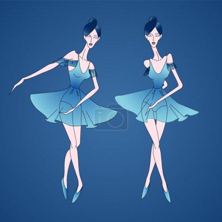 Illustration pour Illustration vectorielle des ballerines . - image libre de droit