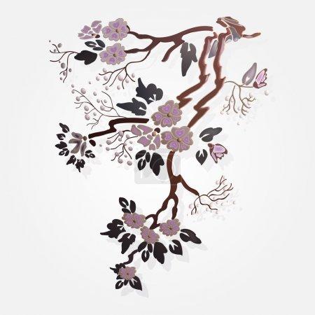 Vector sakura branch. Vector illustration.