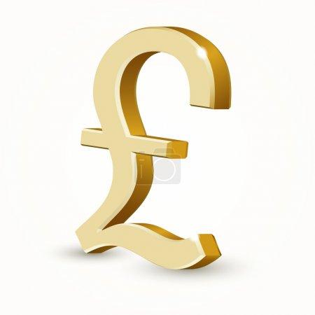 Illustration for Vector golden UK pound sign isolated on white background. - Royalty Free Image