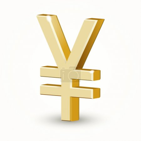 Vector golden Yen sign isolated on white background.