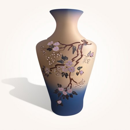 Vector illustration of a vase with sakura.