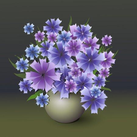 Illustration pour Bouquet vectoriel de bleuet . - image libre de droit