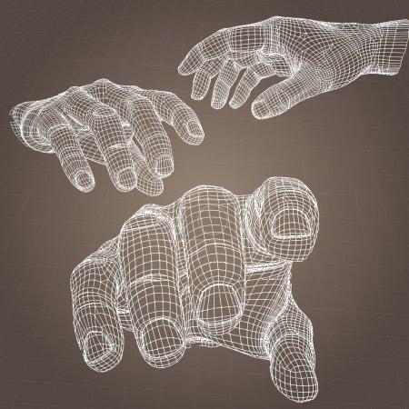 Modelo vectorial de la mano .