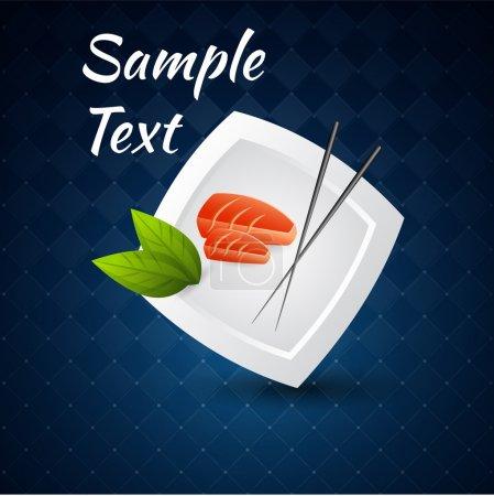 Illustration pour Fond vectoriel avec sushi sur la plaque et baguettes . - image libre de droit
