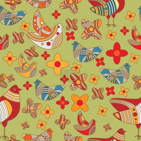 Illustration for Vector colorful background with birds. - Royalty Free Image