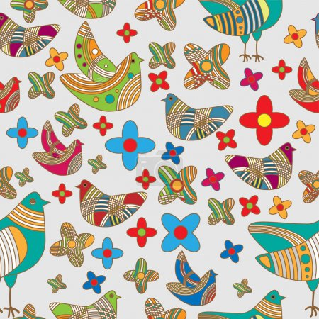 Photo for Vector colorful background with birds. - Royalty Free Image