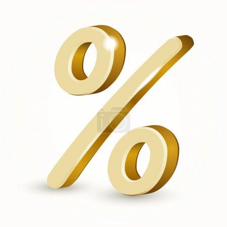 Illustration pour Vecteur d'or pour cent signe isolé sur fond blanc . - image libre de droit