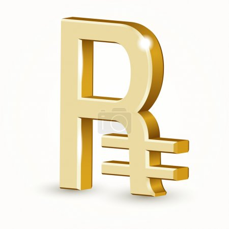 Vector golden Russian ruble sign isolated on white background.