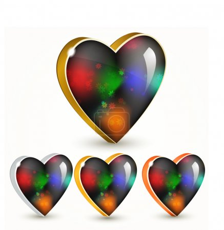 Vector set of colorful hearts.
