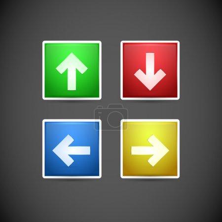 Illustration pour Ensemble vectoriel de boutons fléchés . - image libre de droit