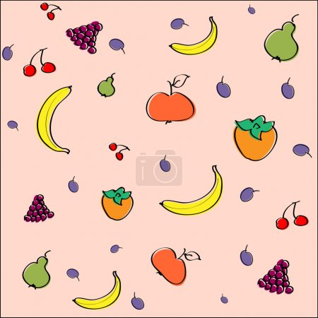 Vector background with fruit.