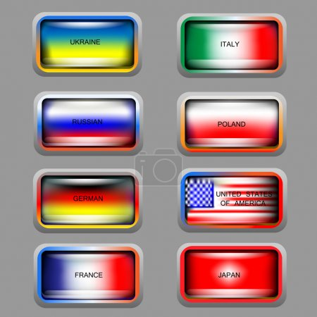 Illustration for Vector set of icons with flags. - Royalty Free Image