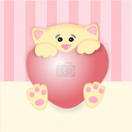 Illustration pour Illustration vectorielle d'un chat au grand cœur . - image libre de droit