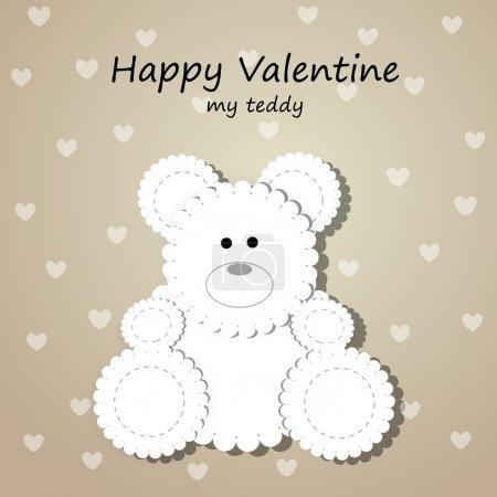 Illustration pour Carte de vœux vectorielle pour la Saint Valentin avec ours en peluche . - image libre de droit