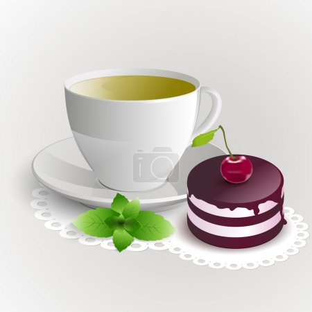 Cup of green tea with cherry cake. Vector illustration.